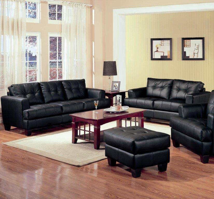 Coaster CO of America Samuel 2 Piece Black Bonded Leather Loveseat and Sofa Group