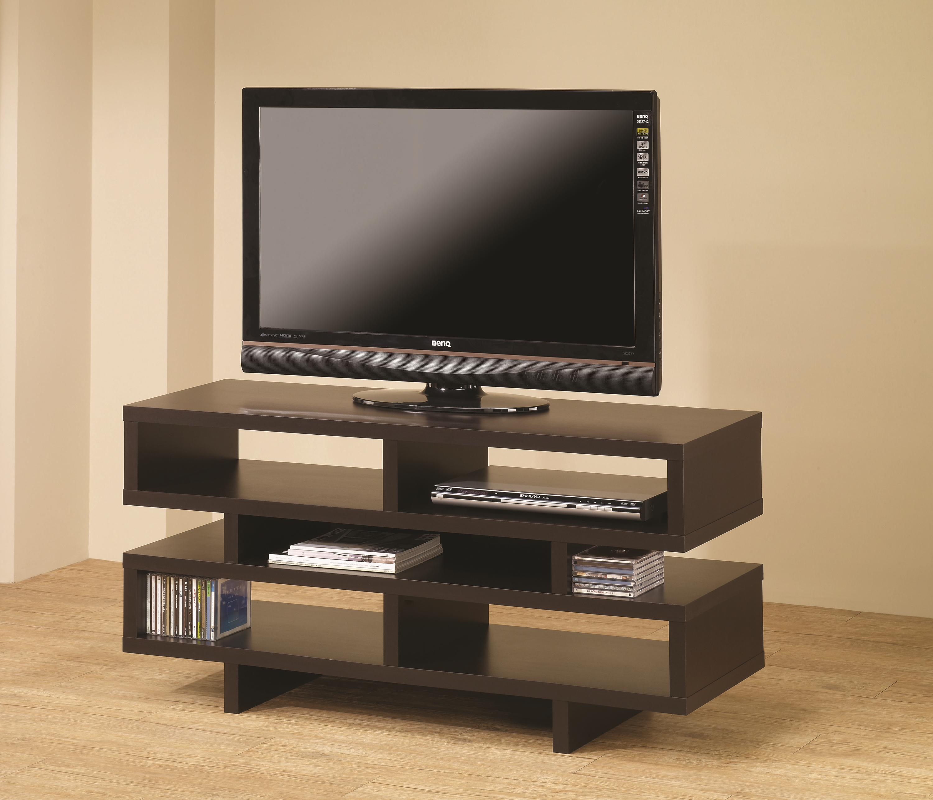 Coaster leo console in two finishes aim rental - Media consoles for small spaces plan ...