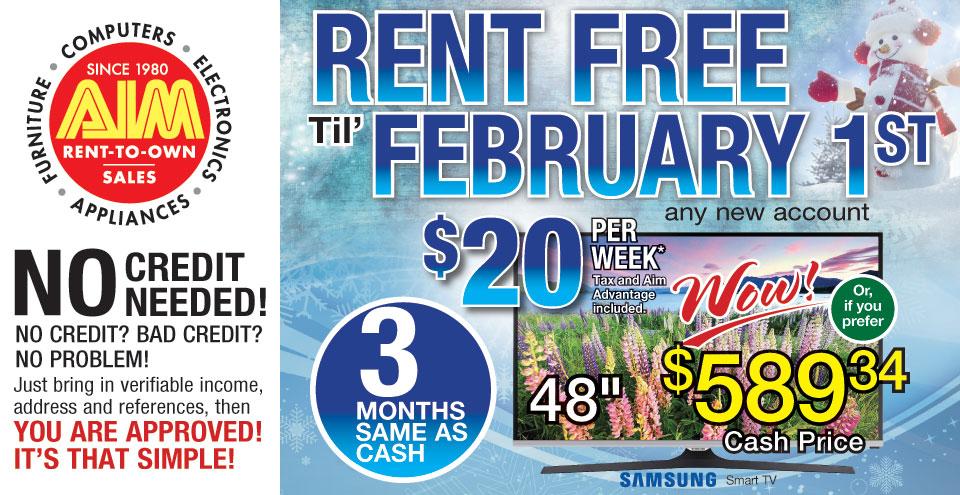 Aim Rental January 2016 Specials