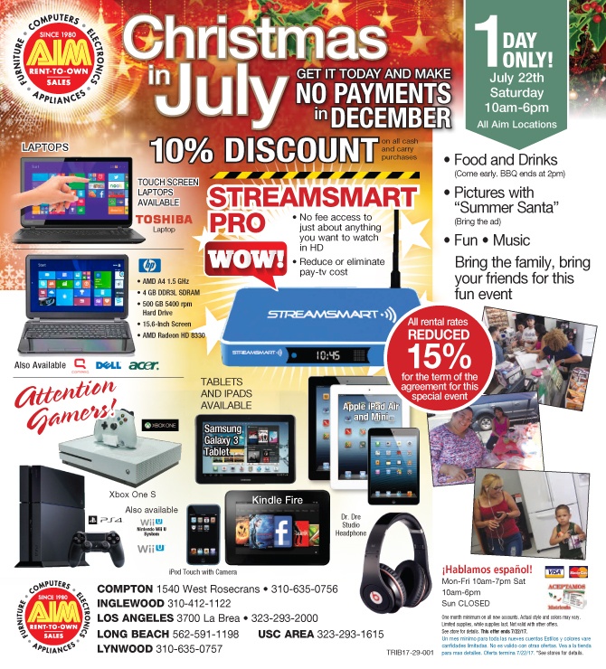 Aim Rental July 2017 Specials